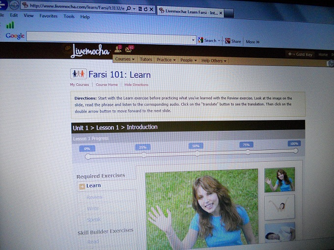 LiveMocha user interface.  Learn Farsi 101