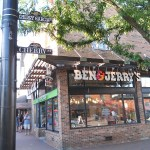 Ben & Jerry's shop in Burlington Vermont.  It is at the corner of Church Street and Garcia, which has been honorably changed to Cherry Garcia after the famous icecream flavor.