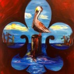 Louisiana Brown Pelican.  This is a painting of a Louisiana Brown Pelican on a post.  The Brown Pelican is Louisiana's official state bird, and it is a local icon appearing on the state flag and on other things.  The fleur-de-lis is also a popular symbol in Louisiana.