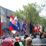 Flags of a few countries at the Boston Marathon