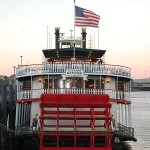The Natchez steamboat in New Orleans near the French Quarter.