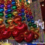 Mardi Gras beads for sale, always in New Orleans.  It is really touristy to wear them whenever it is not Mardi Gras.