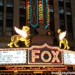 Fox Theater Detroit.  Lite up at night.  Fox theater is a landmark in Detroit.