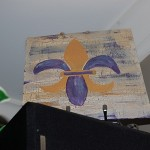 Fleur de lis purple and gold painting