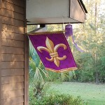 Purple and gold fleur de lis flag