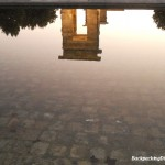 Reflection pool in Madrid.  This is the Egyptian temple in Madrid.