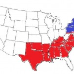 The traditional southern states.  With Northern states.  They are separated in this picture by the Mason Dixon line.