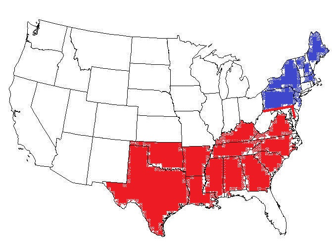 The Traditional Southern States With Northern States They Are - Us map mason dixon line
