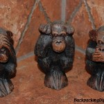 See no evil, hear no evil, speak no evil.  Three monkies in a bathroom!