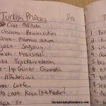 Turkish phrases in my notebook.