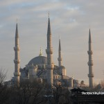 A silhouette of the Blue mosque at sunset.
