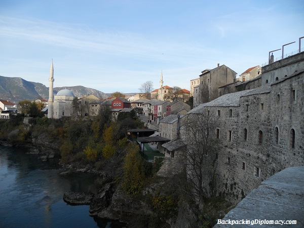 Looking off of the old bridge in Mostar Bosnia