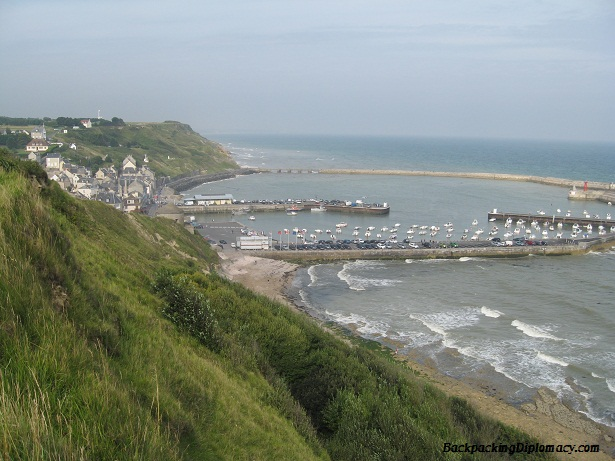 Overlooking a town in Normandy France. Normandie France beach.