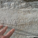 Touching history, the ancient Greek writings of Ephesus Turkey.