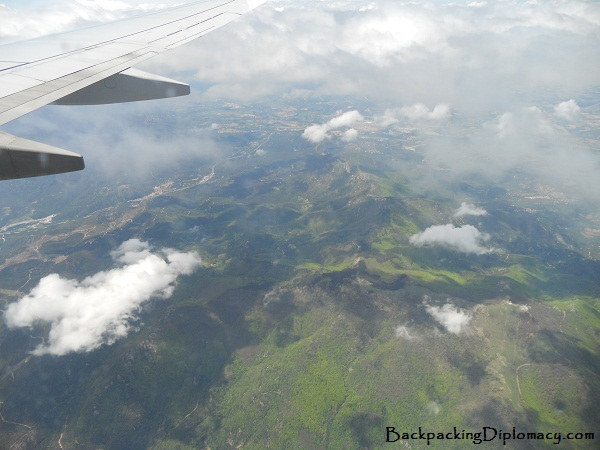 Flying over the Pyrenees between Spain and France