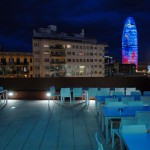 View from Urbany Hostel´s rooftop terrace at night.