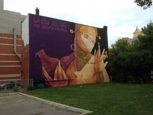 Montreal Street Art (Reads: La sed del oro nos dejara sin agua. English: The thirst for gold will leave us without water.)