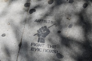 """Reads: """"Artists - Fight The Evictions!"""""""